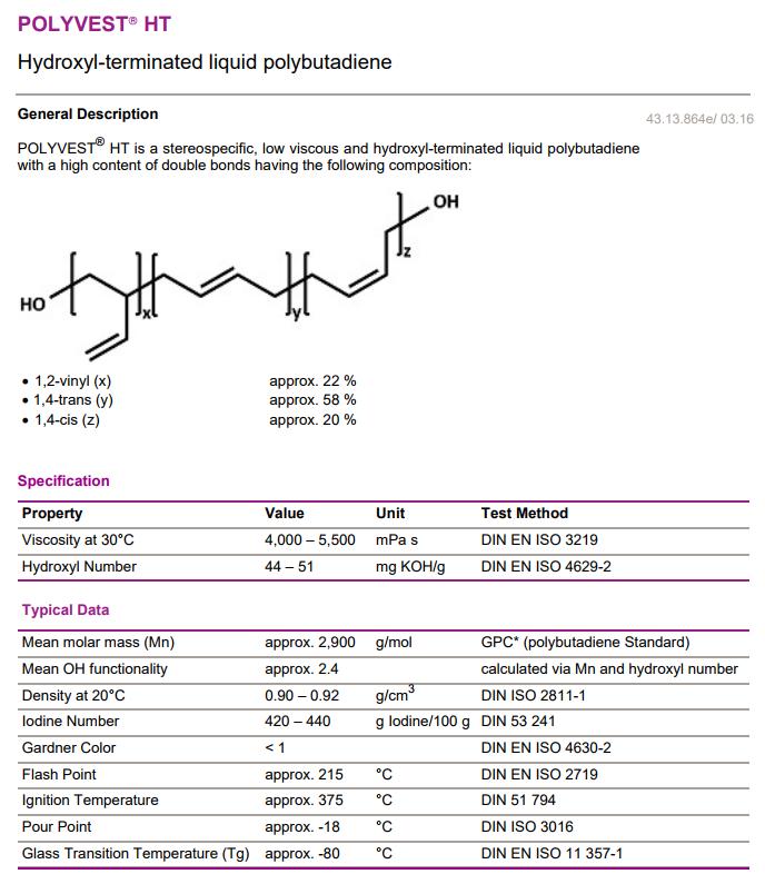 赢创德固赛polyvest端羟基聚丁二烯结构式图片|69102-90-5结构式图片