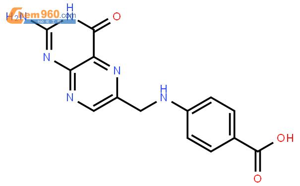4-[[(2-氨基-3,4-二氢-4-氧代-6-蝶啶基)甲基]氨基]苯甲酸结构式图片 119-24-4结构式图片